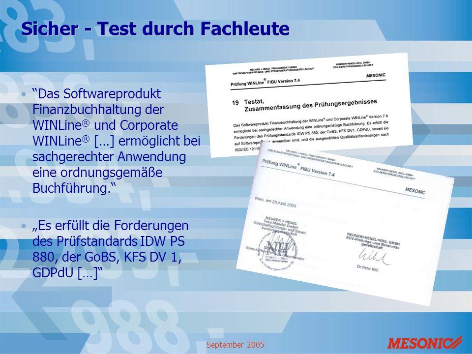September 2005 Sicher - Test durch Fachleute Das Softwareprodukt Finanzbuchhaltung der WINLine ® und Corporate WINLine ® […] ermöglicht bei sachgerech
