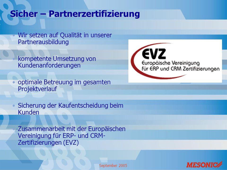 September 2005 Sicher – Partnerzertifizierung Wir setzen auf Qualität in unserer Partnerausbildung kompetente Umsetzung von Kundenanforderungen optima