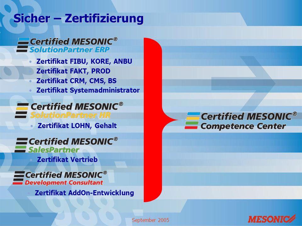 September 2005 Sicher – Zertifizierung Zertifikat FIBU, KORE, ANBU Zertifikat FAKT, PROD Zertifikat CRM, CMS, BS Zertifikat Systemadministrator Zertif