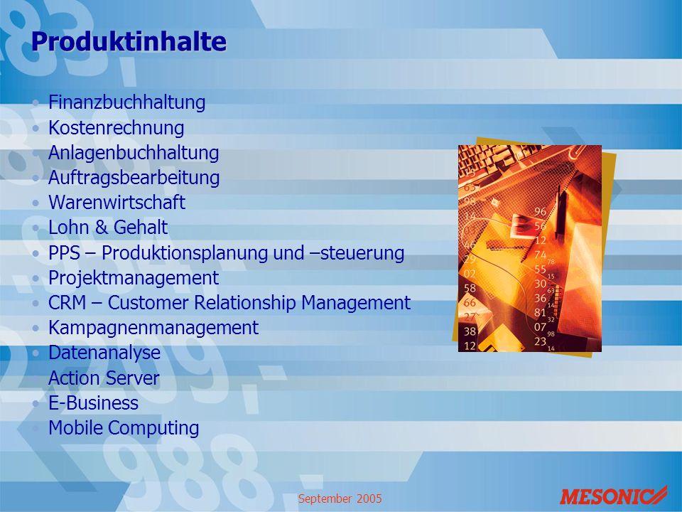 September 2005 Produktinhalte Finanzbuchhaltung Kostenrechnung Anlagenbuchhaltung Auftragsbearbeitung Warenwirtschaft Lohn & Gehalt PPS – Produktionsp