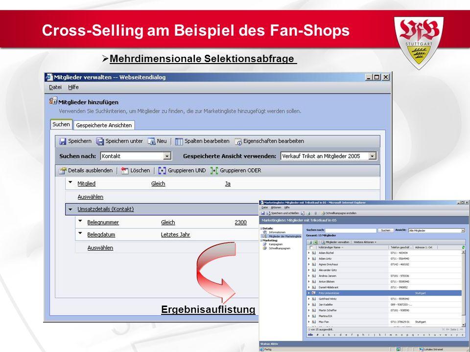 Cross-Selling am Beispiel des Fan-Shops Mehrdimensionale Selektionsabfrage Ergebnisauflistung