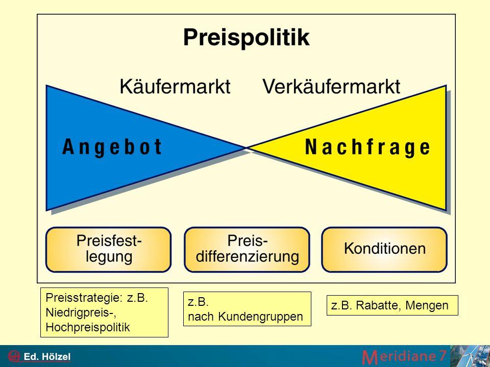 Preisstrategie: z.B. Niedrigpreis-, Hochpreispolitik z.B. nach Kundengruppen z.B. Rabatte, Mengen