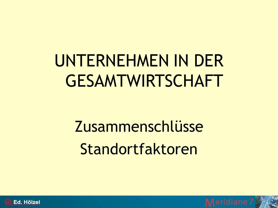 UNTERNEHMEN IN DER GESAMTWIRTSCHAFT Zusammenschlüsse Standortfaktoren