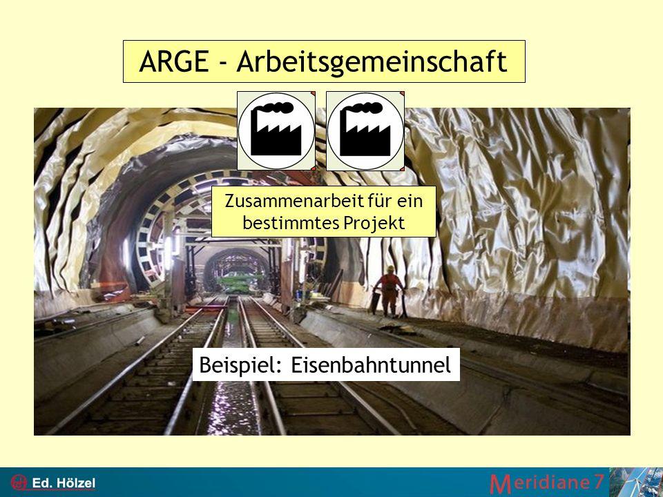 ARGE - Arbeitsgemeinschaft Zusammenarbeit für ein bestimmtes Projekt Beispiel: Eisenbahntunnel