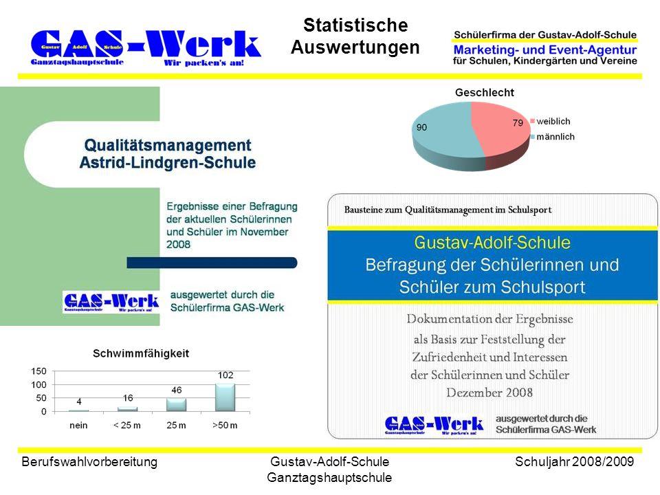 Gustav-Adolf-Schule Ganztagshauptschule Statistische Auswertungen Berufswahlvorbereitung Schuljahr 2008/2009