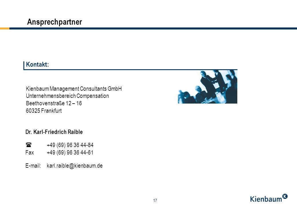 17 Ansprechpartner Kienbaum Management Consultants GmbH Unternehmensbereich Compensation Beethovenstraße 12 – 16 60325 Frankfurt Dr.