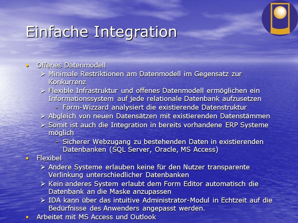 Einfache Integration Offenes DatenmodellOffenes Datenmodell Minimale Restriktionen am Datenmodell im Gegensatz zur Konkurrenz Minimale Restriktionen a