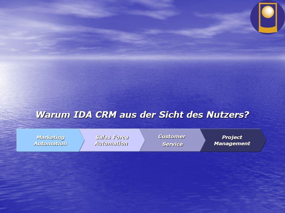 Warum IDA CRM aus der Sicht des Nutzers? ProjectManagement Customer Service Service Sales Force Automation Sales Force Automation Marketing Automation