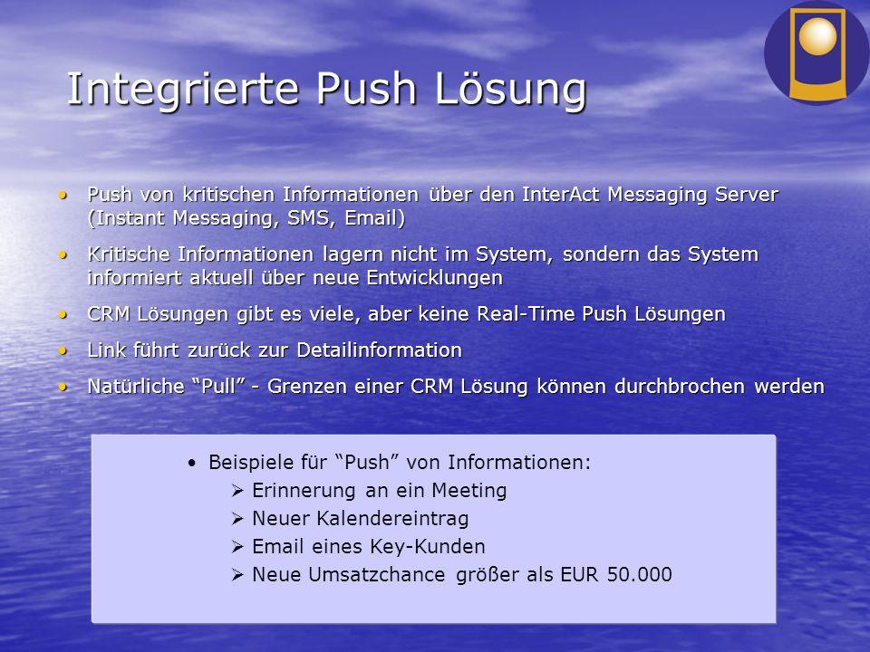 Integrierte Push Lösung Push von kritischen Informationen über den InterAct Messaging Server (Instant Messaging, SMS, Email)Push von kritischen Inform