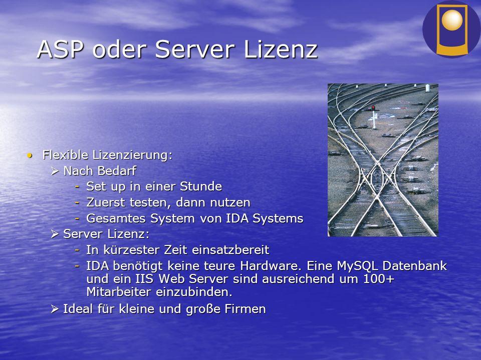 ASP oder Server Lizenz Flexible Lizenzierung:Flexible Lizenzierung: Nach Bedarf Nach Bedarf -Set up in einer Stunde -Zuerst testen, dann nutzen -Gesam