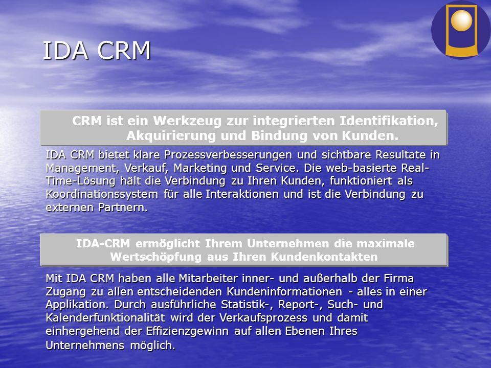 IDA CRM IDA-CRM ermöglicht Ihrem Unternehmen die maximale Wertschöpfung aus Ihren Kundenkontakten CRM ist ein Werkzeug zur integrierten Identifikation