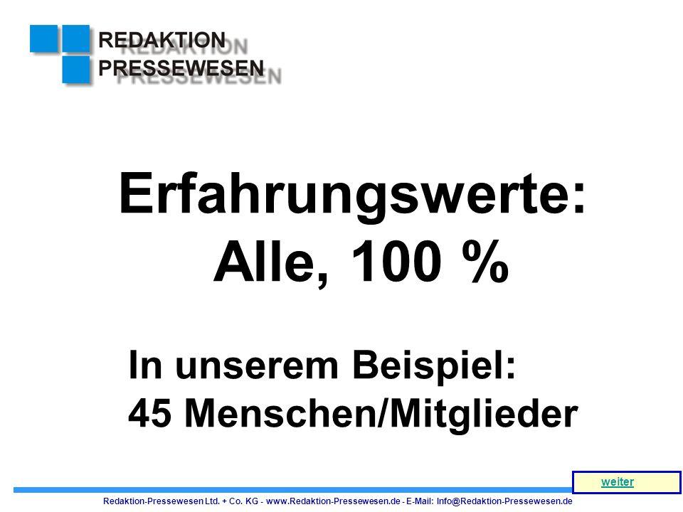 Erfahrungswerte: Alle, 100 % In unserem Beispiel: 45 Menschen/Mitglieder Redaktion-Pressewesen Ltd. + Co. KG - www.Redaktion-Pressewesen.de - E-Mail: