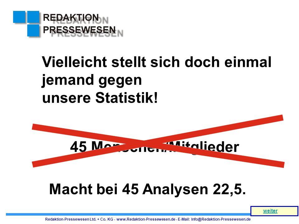 Macht bei 45 Analysen 22,5. Vielleicht stellt sich doch einmal jemand gegen unsere Statistik! 45 Menschen/Mitglieder Redaktion-Pressewesen Ltd. + Co.