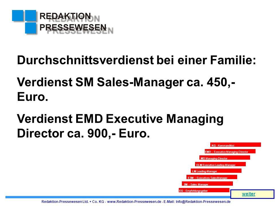 Durchschnittsverdienst bei einer Familie: Verdienst SM Sales-Manager ca. 450,- Euro. Verdienst EMD Executive Managing Director ca. 900,- Euro. ESM – E