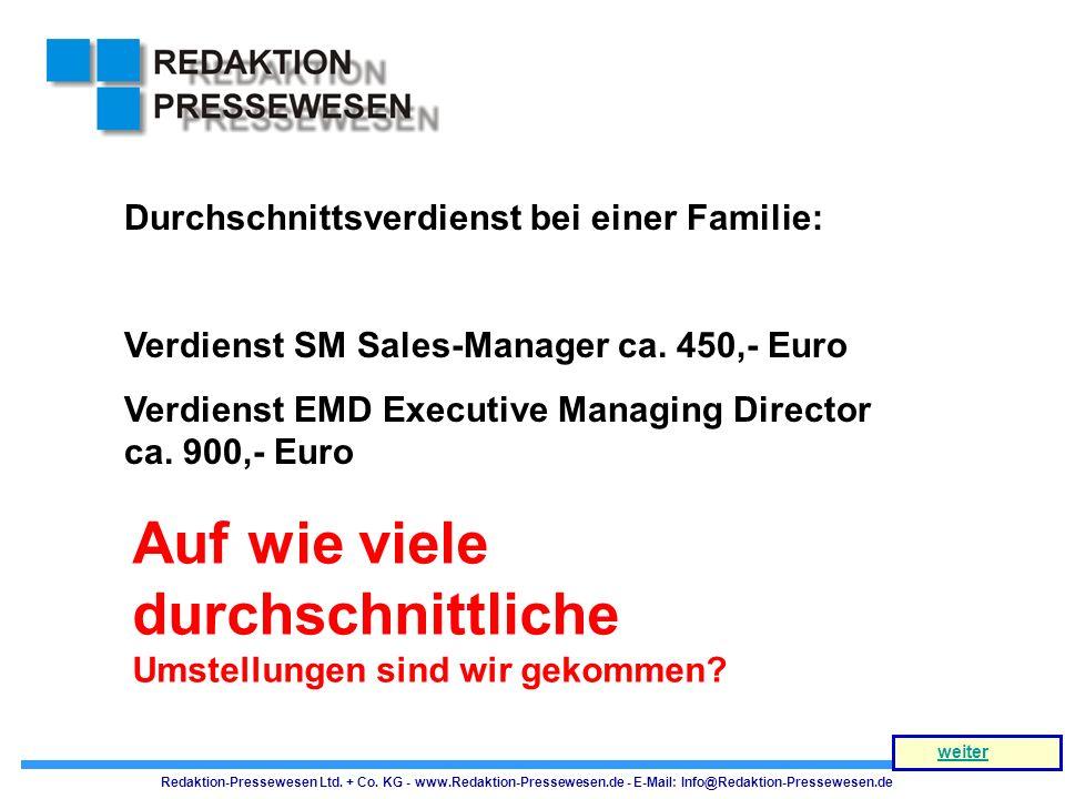 Auf wie viele durchschnittliche Umstellungen sind wir gekommen? Durchschnittsverdienst bei einer Familie: Verdienst SM Sales-Manager ca. 450,- Euro Ve