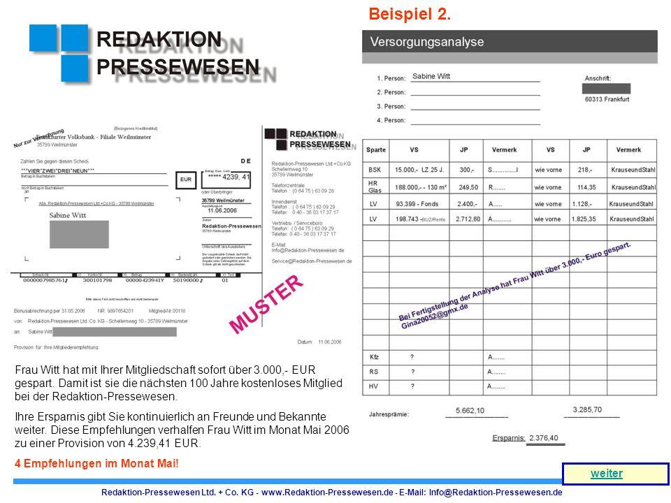 Redaktion-Pressewesen Ltd. + Co. KG - www.Redaktion-Pressewesen.de - E-Mail: Info@Redaktion-Pressewesen.de weiter Frau Witt hat mit Ihrer Mitgliedscha