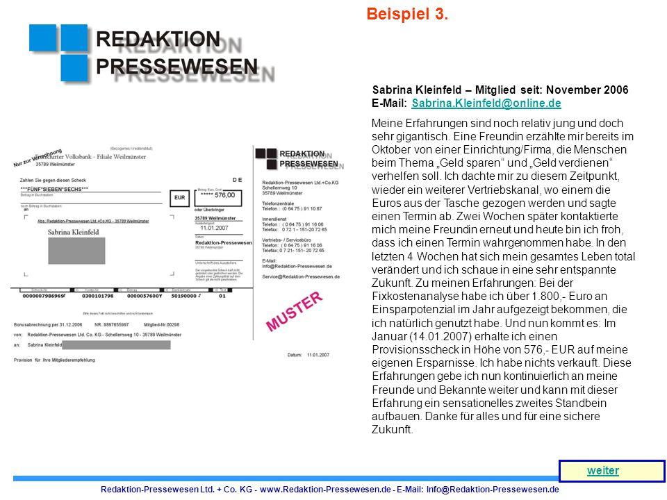 Redaktion-Pressewesen Ltd. + Co. KG - www.Redaktion-Pressewesen.de - E-Mail: Info@Redaktion-Pressewesen.de weiter Sabrina Kleinfeld – Mitglied seit: N