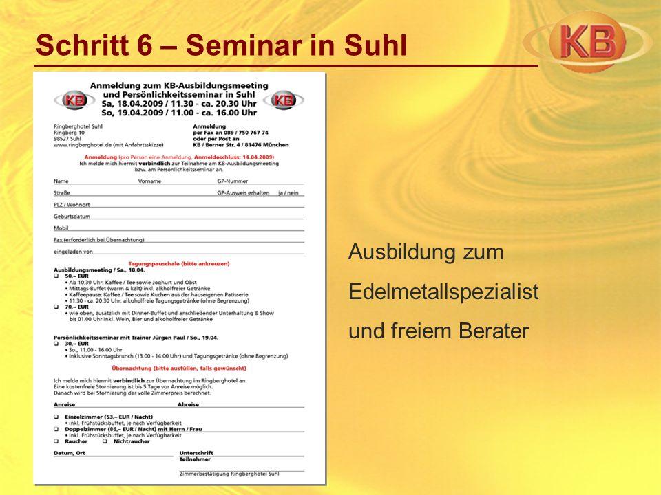 Ausbildung zum Edelmetallspezialist und freiem Berater Schritt 6 – Seminar in Suhl