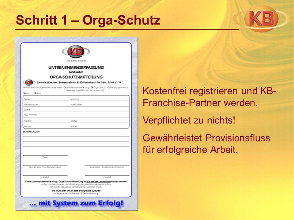Schritt 1 – Orga-Schutz Kostenfrei registrieren und KB- Franchise-Partner werden. Verpflichtet zu nichts! Gewährleistet Provisionsfluss für erfolgreic