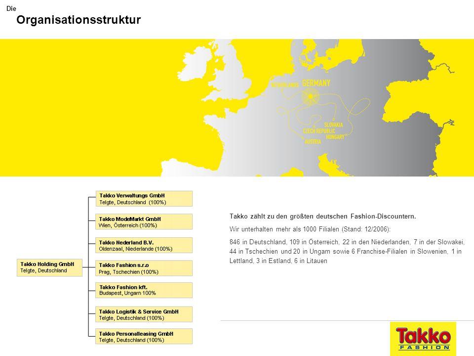 Stark aufgestellt Takko zählt zu den größten deutschen Fashion-Discountern. Wir unterhalten mehr als 1000 Filialen (Stand: 12/2006): 846 in Deutschlan