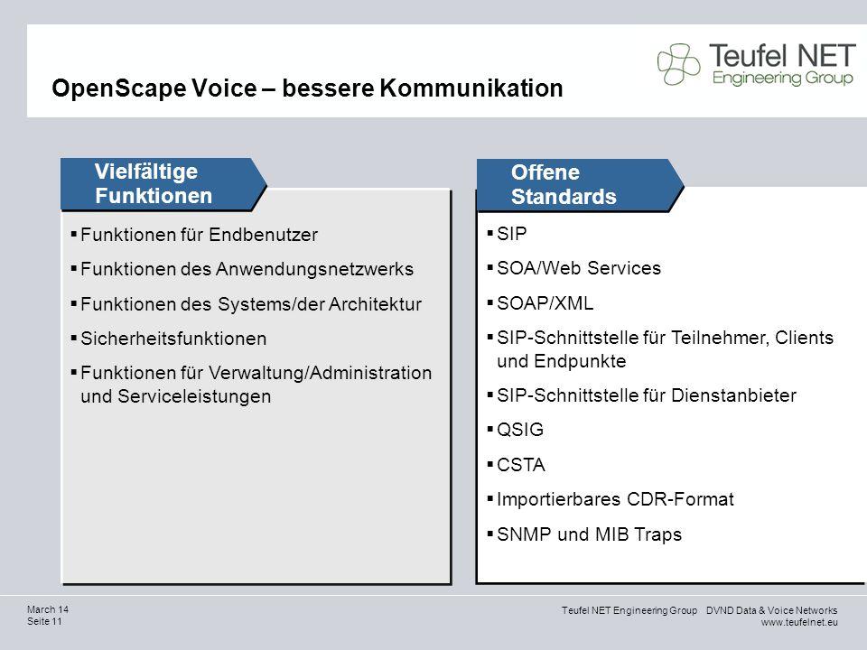 Teufel NET Engineering Group DVND Data & Voice Networks www.teufelnet.eu Seite 11 March 14 Funktionen für Endbenutzer Funktionen des Anwendungsnetzwer