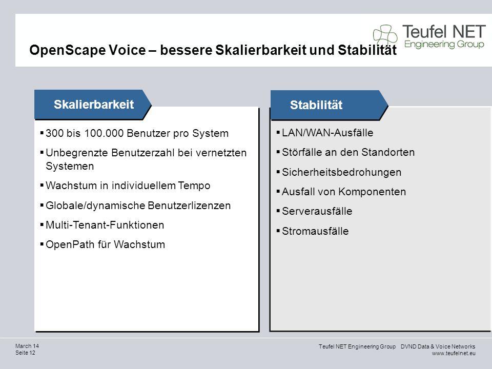 Teufel NET Engineering Group DVND Data & Voice Networks www.teufelnet.eu Seite 12 March 14 300 bis 100.000 Benutzer pro System Unbegrenzte Benutzerzah