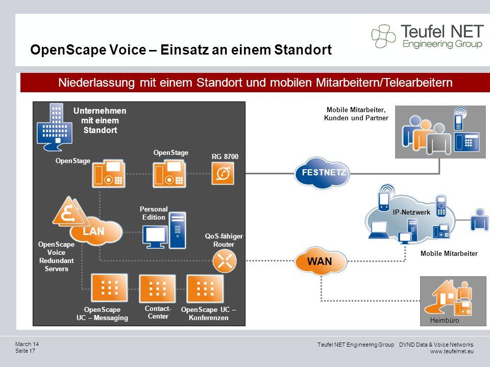 Teufel NET Engineering Group DVND Data & Voice Networks www.teufelnet.eu Seite 17 March 14 OpenScape Voice – Einsatz an einem Standort Mobile Mitarbei