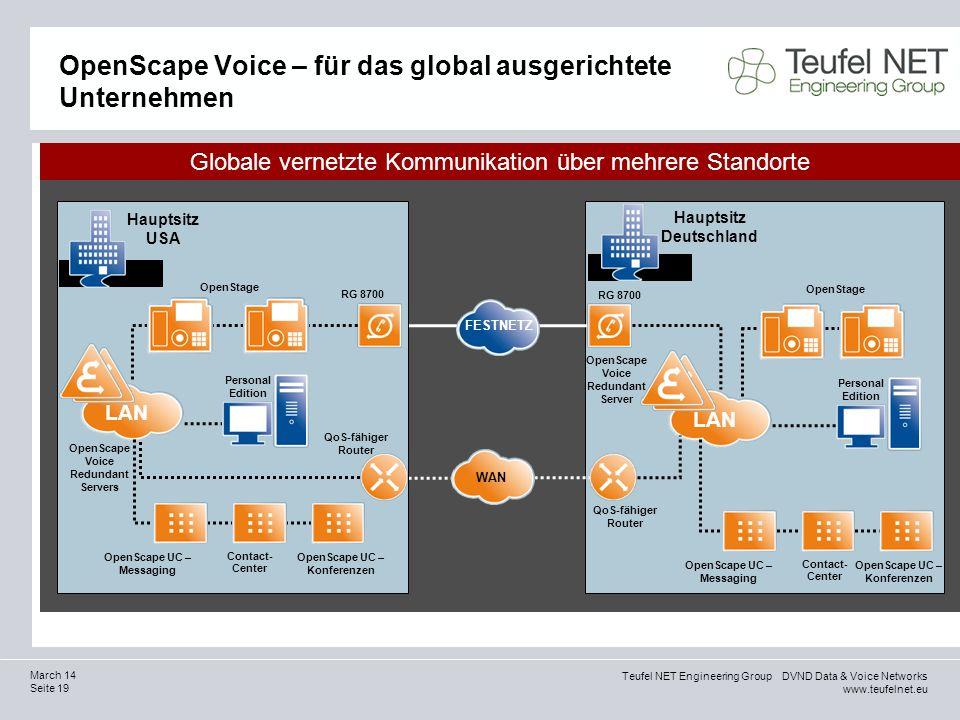 Teufel NET Engineering Group DVND Data & Voice Networks www.teufelnet.eu Seite 19 March 14 OpenScape Voice – für das global ausgerichtete Unternehmen