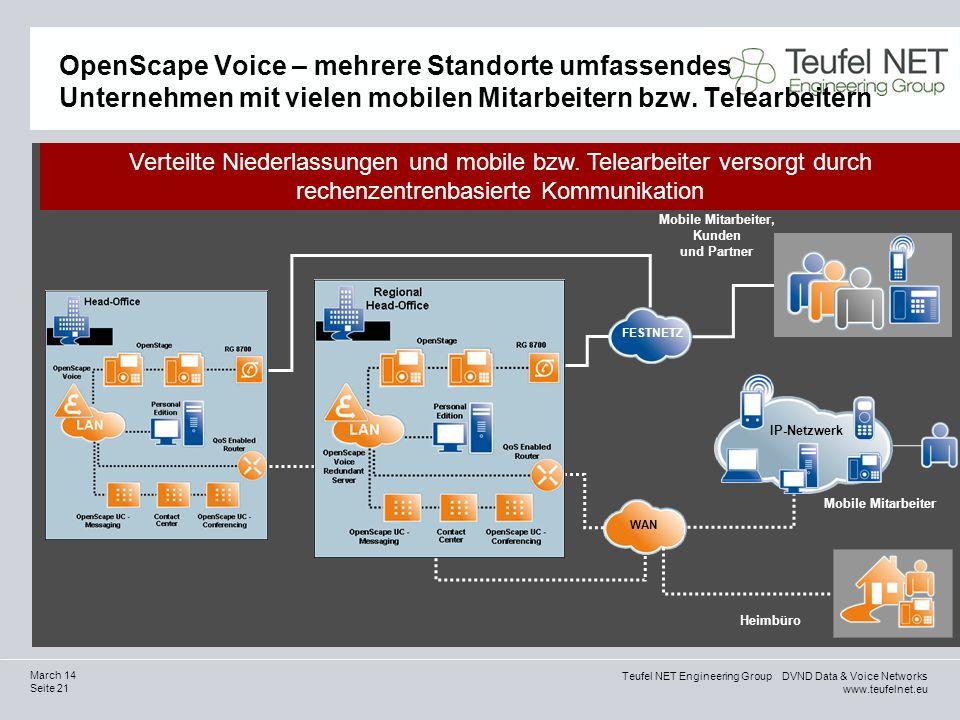 Teufel NET Engineering Group DVND Data & Voice Networks www.teufelnet.eu Seite 21 March 14 OpenScape Voice – mehrere Standorte umfassendes Unternehmen