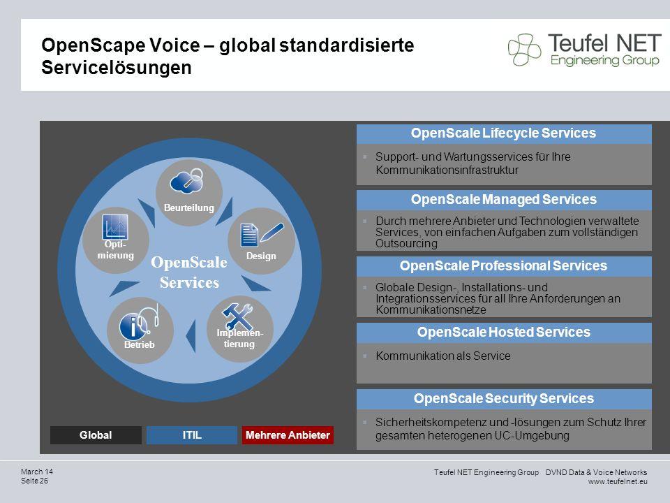Teufel NET Engineering Group DVND Data & Voice Networks www.teufelnet.eu Seite 26 March 14 OpenScape Voice – global standardisierte Servicelösungen Su