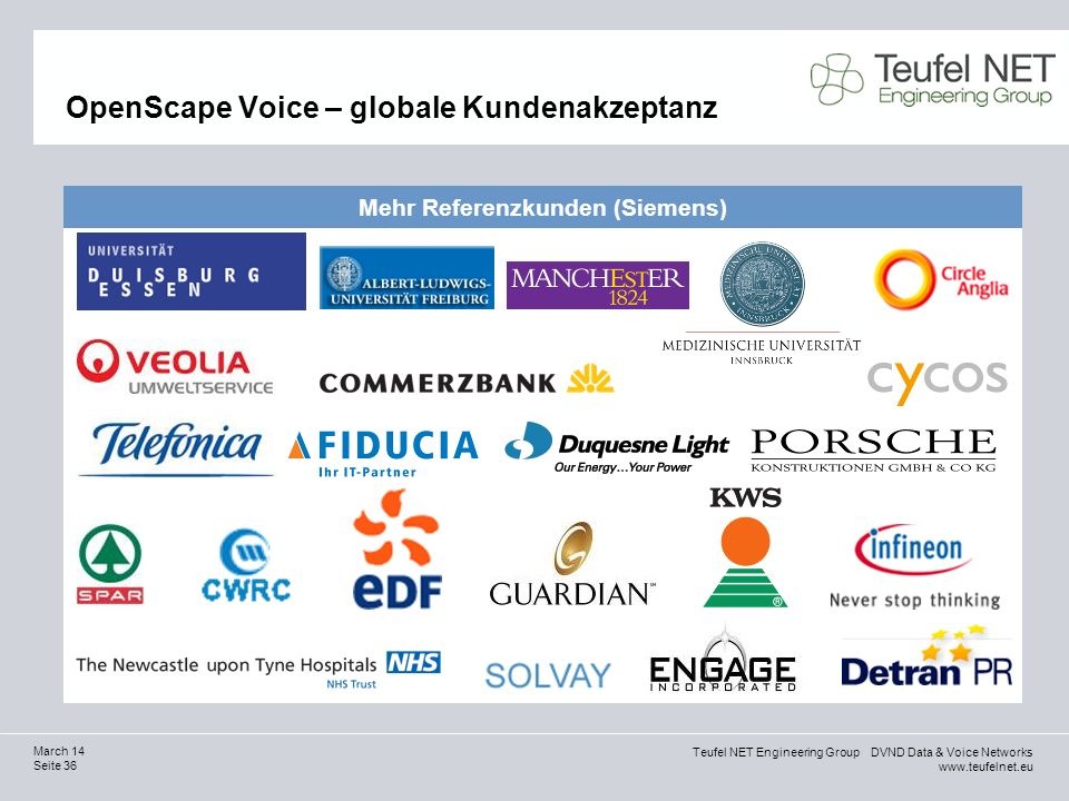 Teufel NET Engineering Group DVND Data & Voice Networks www.teufelnet.eu Seite 36 March 14 OpenScape Voice – globale Kundenakzeptanz Mehr Referenzkund