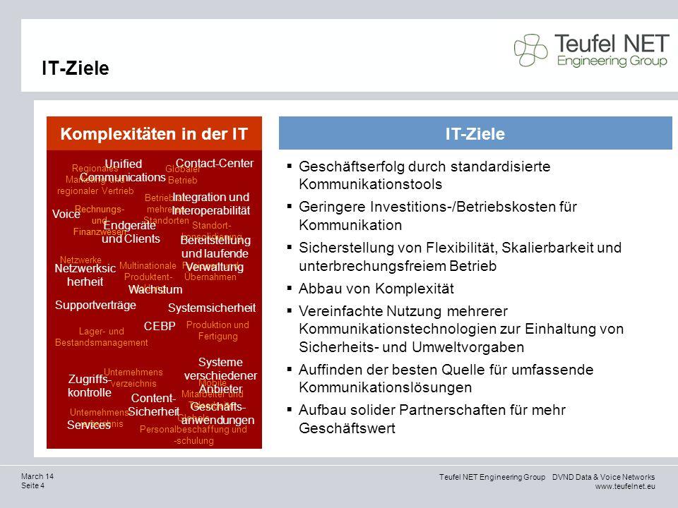 Teufel NET Engineering Group DVND Data & Voice Networks www.teufelnet.eu Seite 4 March 14 IT-Ziele Fusionen und Übernahmen Standort- konsolidierung Gl