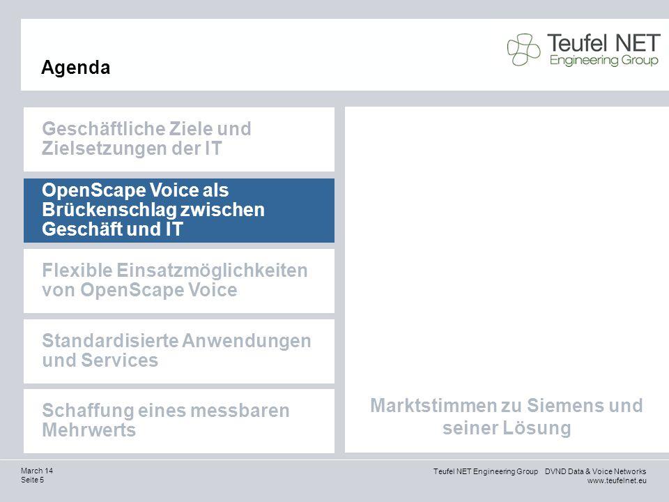 Teufel NET Engineering Group DVND Data & Voice Networks www.teufelnet.eu Seite 5 March 14 Marktstimmen zu Siemens und seiner Lösung Agenda Geschäftlic