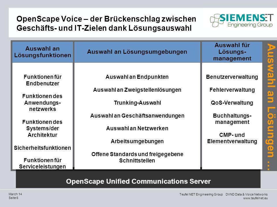 Teufel NET Engineering Group DVND Data & Voice Networks www.teufelnet.eu Seite 37 March 14 Bestätigung von Branchenexperten (…) weist wohl das beste Softwareportfolio der Branche auf (…) (und) hat die besten Chancen, sich als Marktführer für Unified Communications zu etablieren.