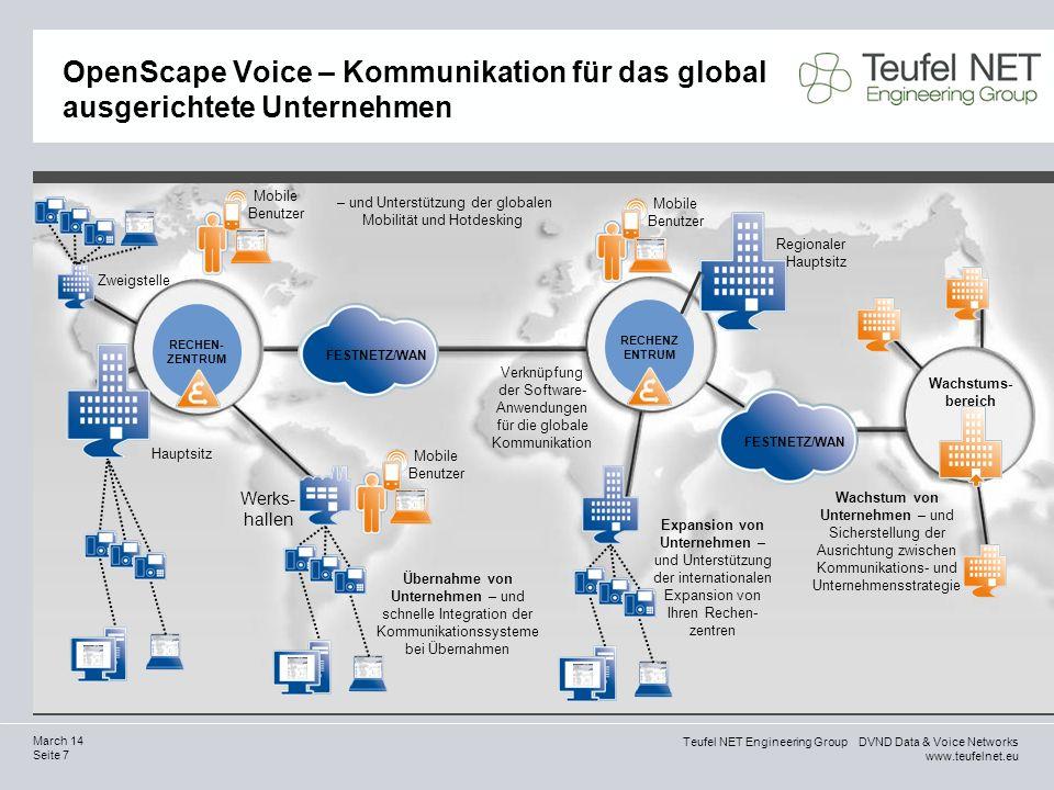 Teufel NET Engineering Group DVND Data & Voice Networks www.teufelnet.eu Seite 28 March 14 Einziger Hersteller, der das gesamte Sortiment an durchgängigen, softwaregestützten Unified Communications basierend auf offenen, sicheren und interoperablen Standards anbietet.