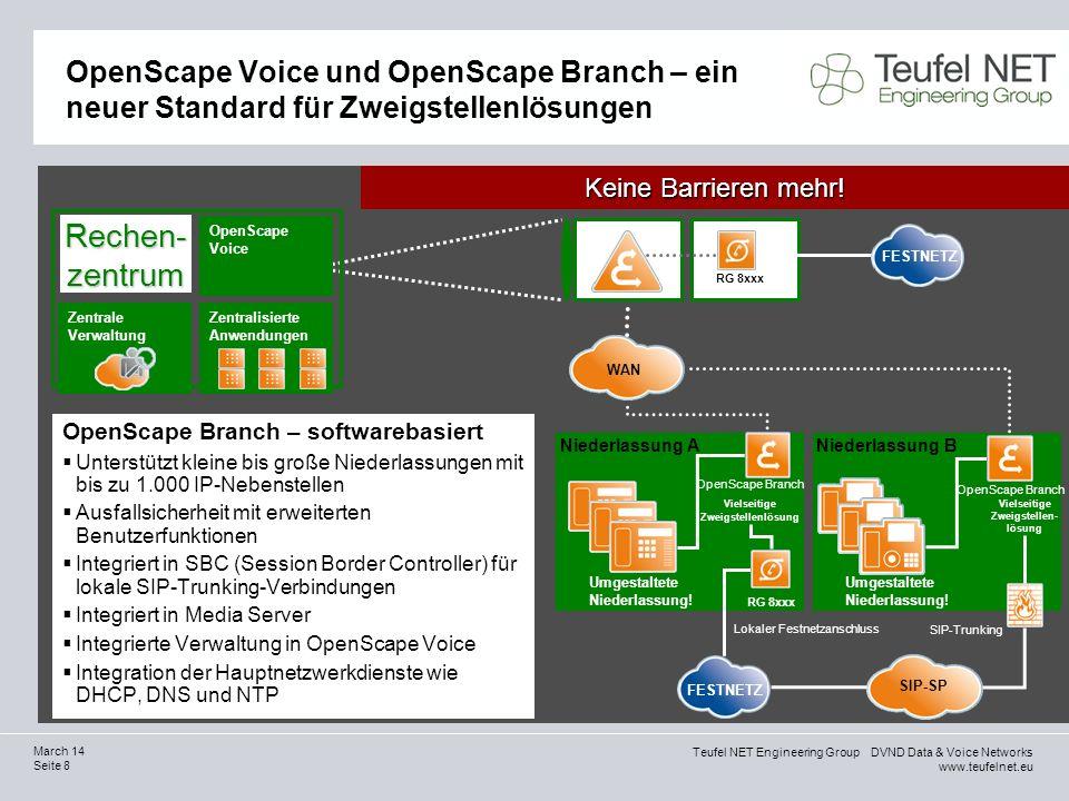 Teufel NET Engineering Group DVND Data & Voice Networks www.teufelnet.eu Seite 8 March 14 OpenScape Voice und OpenScape Branch – ein neuer Standard fü
