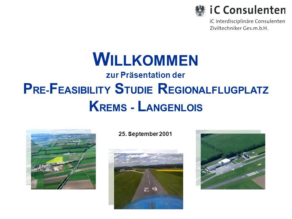 W ILLKOMMEN zur Präsentation der P RE- F EASIBILITY S TUDIE R EGIONALFLUGPLATZ K REMS - L ANGENLOIS 25.