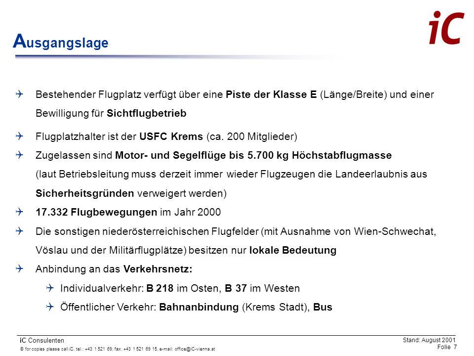 © for copies please call iC, tel.: +43 1 521 69, fax: +43 1 521 69 15, e-mail: office@iC-vienna.at Folie 18 iC Consulenten Stand: August 2001 Flugbetrieb: Präzisionsanflüge bei Instrumentenflugwetterbedingungen unter tags Pistenlänge: Technische Ausstattung des Flugplatzes entsprechend der Kategorie C (1.500 m) Präzisionsanflugpiste der Kategorie I (CAT I): Ausstattung mit einem Instrumenten- landesystem oder einer RADAR-Anlage sowie mit Befeuerung (für den Anflug aus Osten bis herab zu einer Entscheidungshöhe von 60 m und einer Pistensichtweite von 800 m) Gleitwinkel beim Anflugverfahren von 3° Wesentliche Ausbaumaßnahmen Piste mit technischer Ausstattung Rollwege Vorfelder Umzäunung Abfertigungsgebäude und dessen Ausstattung Sonstige Gebäude Z usammenfassung