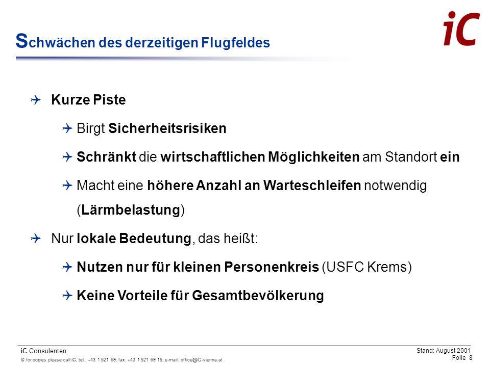 © for copies please call iC, tel.: +43 1 521 69, fax: +43 1 521 69 15, e-mail: office@iC-vienna.at Folie 9 iC Consulenten Stand: August 2001 W as spricht für einen R egionalflugplatz.