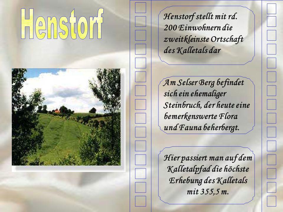 Henstorf stellt mit rd. 200 Einwohnern die zweitkleinste Ortschaft des Kalletals dar Am Selser Berg befindet sich ein ehemaliger Steinbruch, der heute