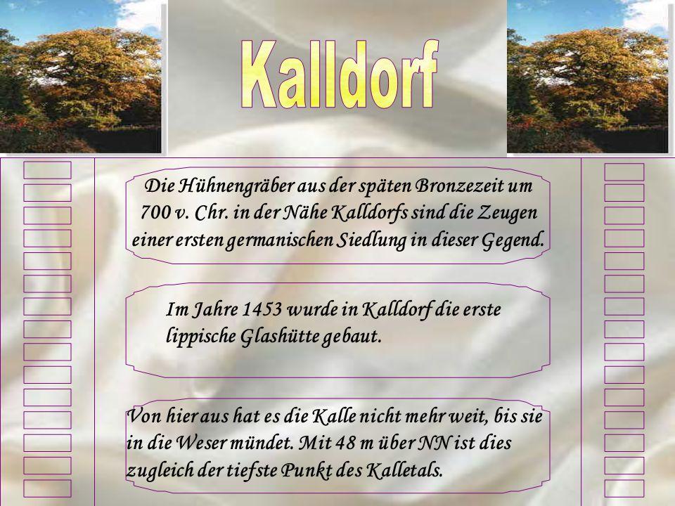 Die Hühnengräber aus der späten Bronzezeit um 700 v. Chr. in der Nähe Kalldorfs sind die Zeugen einer ersten germanischen Siedlung in dieser Gegend. I