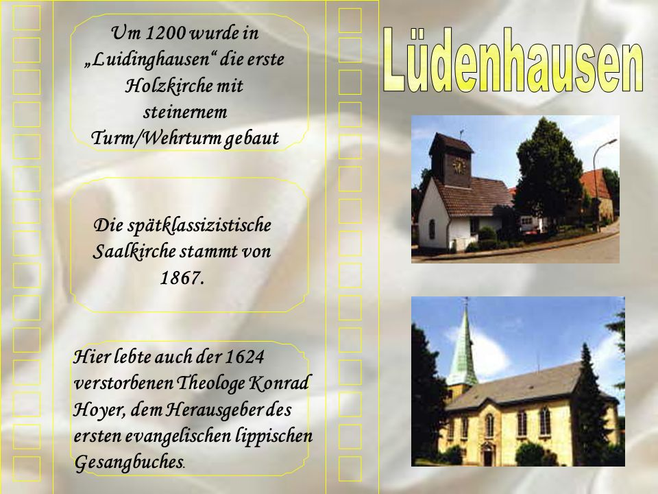 Um 1200 wurde in Luidinghausen die erste Holzkirche mit steinernem Turm/Wehrturm gebaut Die spätklassizistische Saalkirche stammt von 1867. Hier lebte