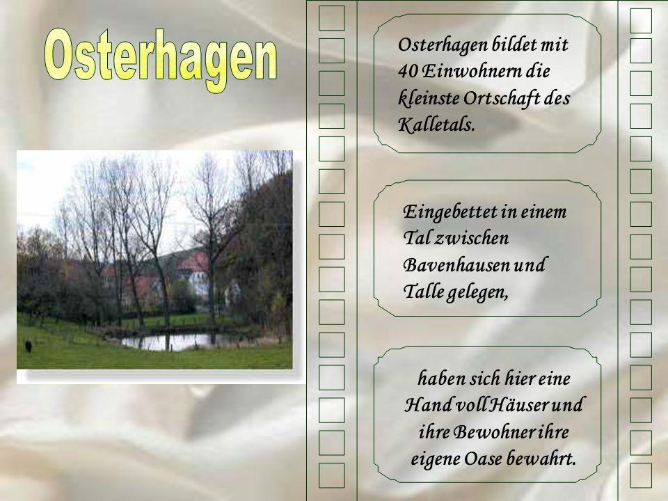 Osterhagen bildet mit 40 Einwohnern die kleinste Ortschaft des Kalletals. Eingebettet in einem Tal zwischen Bavenhausen und Talle gelegen, haben sich