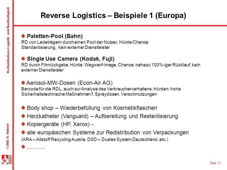 Folie 15 © 2002 R. Hübner Re-Distributions-Logistik und Nachhaltigkeit Reverse Logistics – Beispiele 1 (Europa) Paletten-Pool (Bahn) RD von Ladeträger
