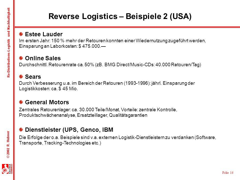 Folie 16 © 2002 R. Hübner Re-Distributions-Logistik und Nachhaltigkeit Reverse Logistics – Beispiele 2 (USA) Estee Lauder Im ersten Jahr: 150 % mehr d