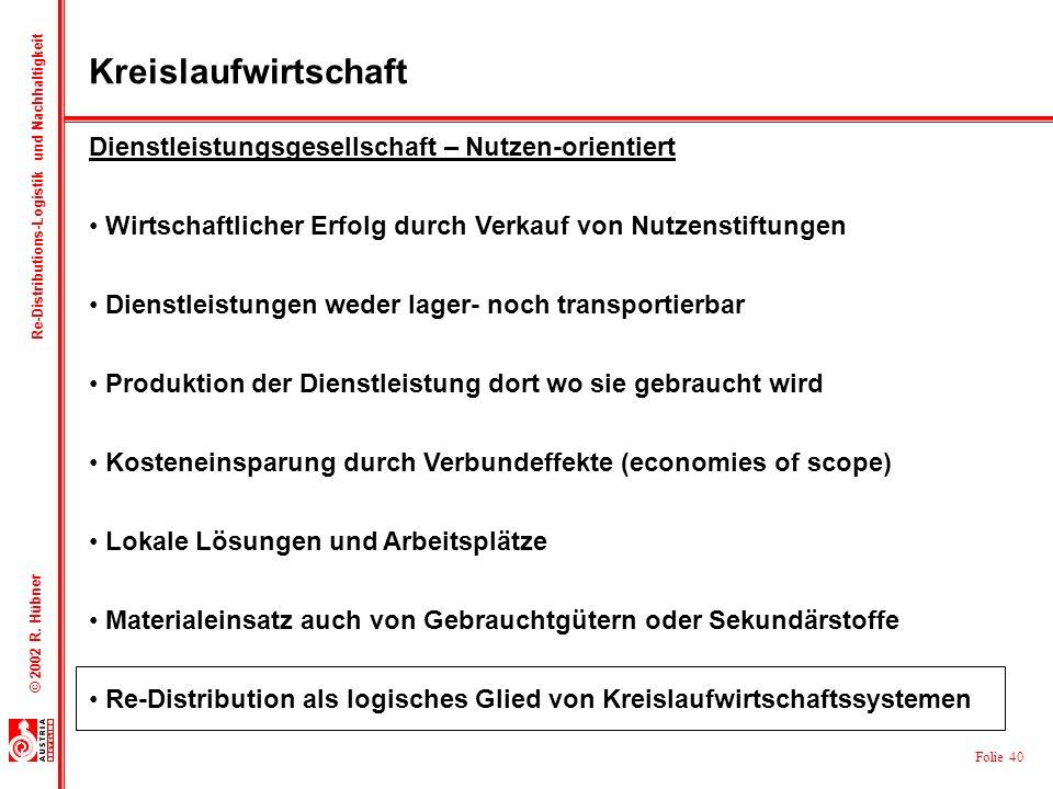 Folie 40 © 2002 R. Hübner Re-Distributions-Logistik und Nachhaltigkeit Dienstleistungsgesellschaft – Nutzen-orientiert Wirtschaftlicher Erfolg durch V