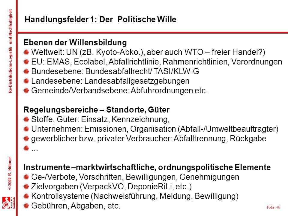 Folie 46 © 2002 R. Hübner Re-Distributions-Logistik und Nachhaltigkeit Handlungsfelder 1: Der Politische Wille Ebenen der Willensbildung Weltweit: UN