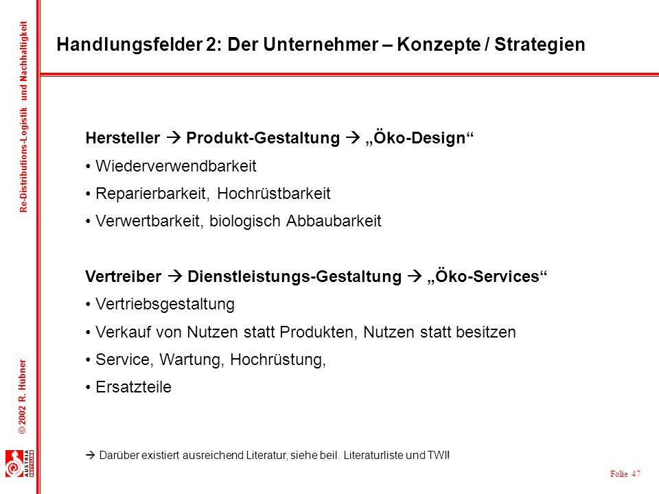 Folie 47 © 2002 R. Hübner Re-Distributions-Logistik und Nachhaltigkeit Handlungsfelder 2: Der Unternehmer – Konzepte / Strategien Hersteller Produkt-G