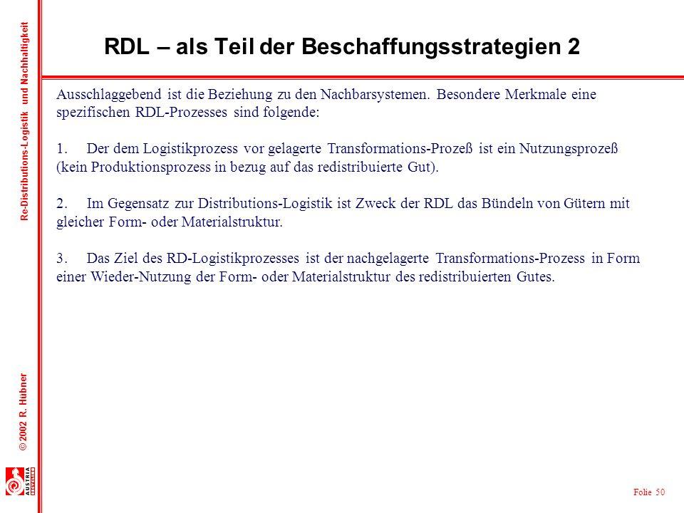 Folie 50 © 2002 R. Hübner Re-Distributions-Logistik und Nachhaltigkeit RDL – als Teil der Beschaffungsstrategien 2 Ausschlaggebend ist die Beziehung z