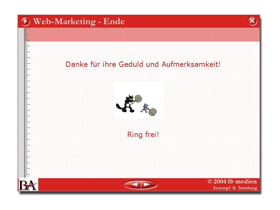 © 2004 lb medien konzept & beratung Medien-Controlling Marketing Controlling Der Marketing-Plan (mittelfristig) Verlag (Image, Marke) jedes einzelne O